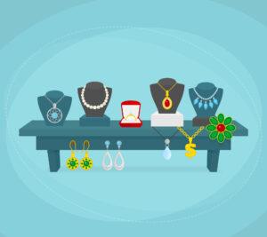 Bord med smykker